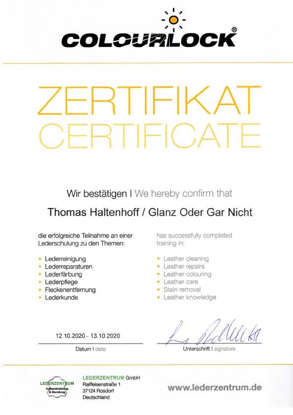 Glanz Oder Gar Nicht - Faszination Fahrzeugpflege hat erfolgreich an einer Lederschulung teilgenommen.